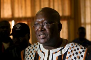 Presidential candidate Roch Marc Kabore speaks to journalists after his last campaign rally in Ouagadougou, Burkina Faso, in this November 27, 2015 file photograph. Roch Marc Kabore was proclaimed the winner of a presidential election in Burkina Faso and will become the country's first new leader in decades, the Independent National Electoral Commission said on December 1, 2015. REUTERS/Joe Penney/Files